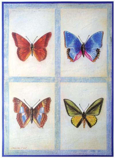 Blue Butterflies-Lewman Zaid-Art Print
