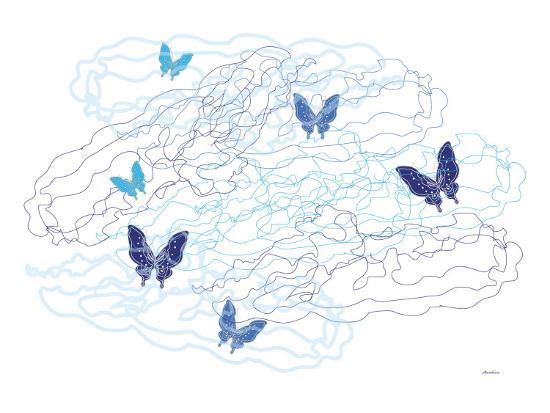 Blue Butterfly with Trails-Avalisa-Art Print