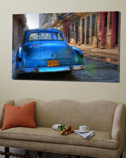Blue Car in Havana, Cuba, Caribbean-Nadia Isakova-Loft Art