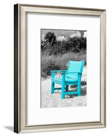 Blue Chair abandoned on the Beach-Philippe Hugonnard-Framed Photographic Print