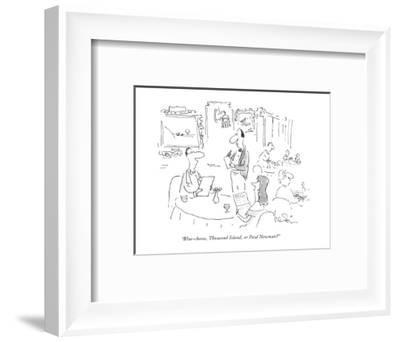 """Blue-cheese, Thousand Island, or Paul Newman?"" - New Yorker Cartoon-Arnie Levin-Framed Premium Giclee Print"