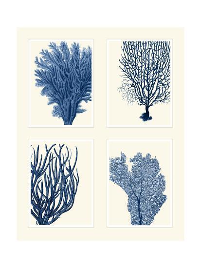 Blue Coral Print on 4 Panels-Fab Funky-Art Print
