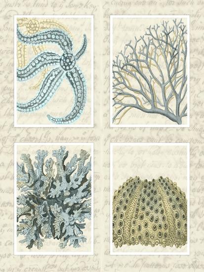 Blue Corals On Vintage Script in 4 Panels-Fab Funky-Art Print