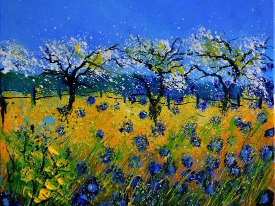Blue Cornflowers 545130-Pol Ledent-Premium Giclee Print