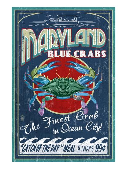 Blue Crabs - Ocean City, Maryland-Lantern Press-Art Print