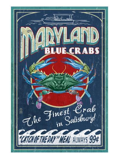 Blue Crabs - Salisbury, Maryland-Lantern Press-Art Print