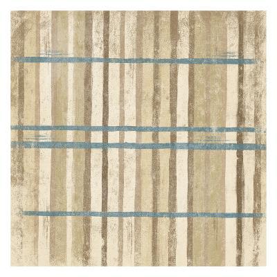 Blue Cream Stripes-Jace Grey-Art Print