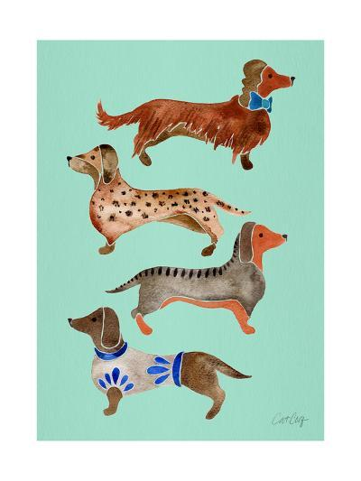 Blue Dachshunds-Cat Coquillette-Giclee Print