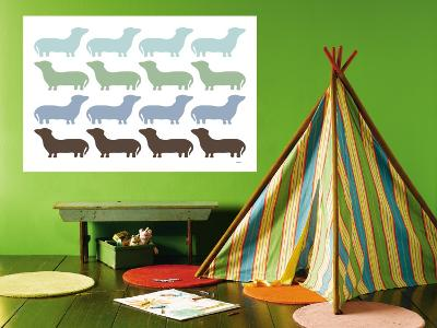 Blue Daschund Family-Avalisa-Wall Mural