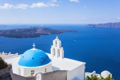 Blue Dome and Bell Tower Above Aegean Sea-Neale Clark-Photographic Print