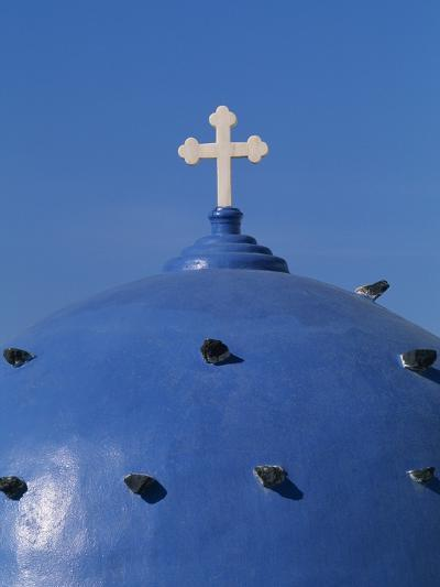 Blue dome of a church with cross on Santorin, Greece-Murat Taner-Photographic Print