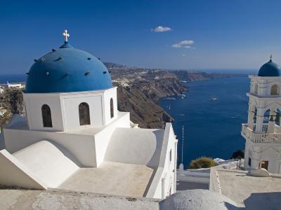 Blue Domed Church, Imerovigli, Santorini, Greece-Darrell Gulin-Photographic Print