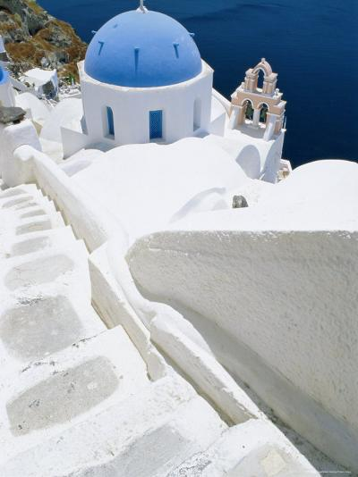 Blue Domed Church, Oia, Santorini, Cyclades Islands, Greece, Europe-Lee Frost-Photographic Print