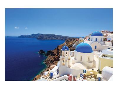 Blue Domed Santorini Churches--Art Print