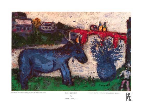 Blue Donkey Art Print by Marc Chagall | Art com