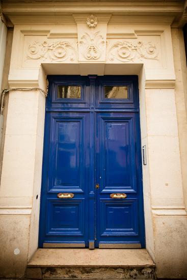 Blue Door in Paris-Erin Berzel-Photographic Print