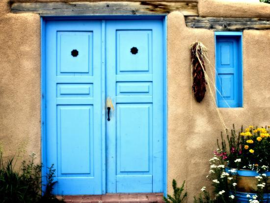 Blue Door on Adobe Building-Ray Laskowitz-Photographic Print