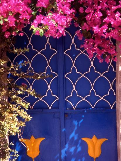 Blue Doors and Bougainvillea, Koskinou Village, Rhodes, Dodecanese Islands,  Greece Photographic Print by Steve Outram | Art com
