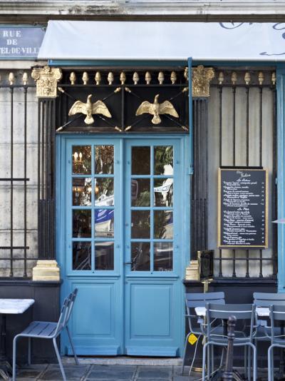 Blue Doors of Cafe, Marais District, Paris, France-Jon Arnold-Photographic Print