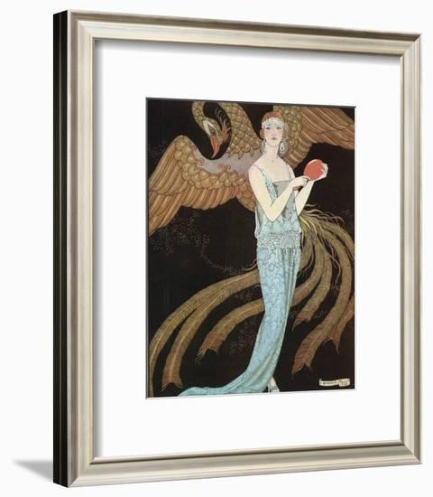Blue Dress by Beer-Georges Barbier-Framed Premium Giclee Print