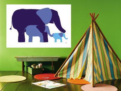 Blue Elephants-Avalisa-Wall Mural