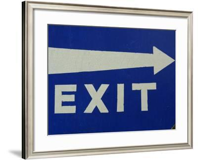 Blue Exit Sign with Arrow--Framed Photographic Print