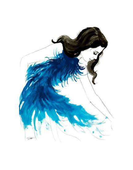 Blue Feathers-Jessica Durrant-Art Print