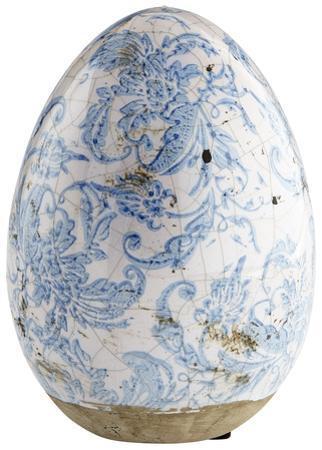 Blue Floral Egg - Large