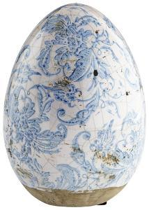 Blue Floral Egg - Small