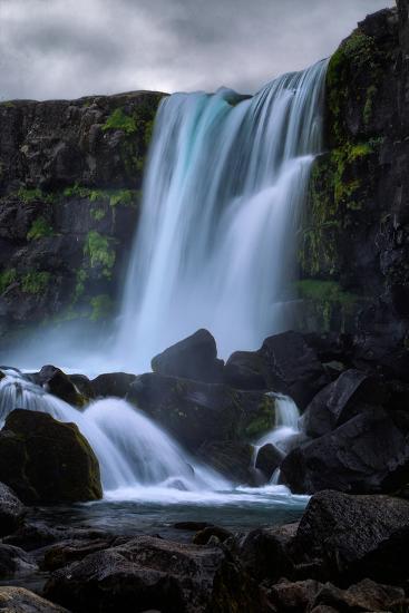 Blue Flow and Waterfall Mood, Öxarárfoss, Iceland-Vincent James-Photographic Print