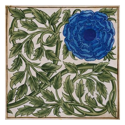 Blue Flower Watercolor Tile Design by William de Morgan-Stapleton Collection-Giclee Print
