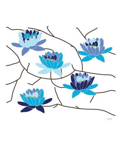 Blue Flowering Tree-Avalisa-Art Print