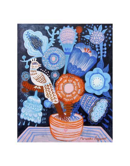Blue Flowers-Mercedes Lagunas-Art Print