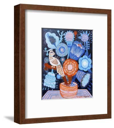 Blue Flowers-Mercedes Lagunas-Framed Art Print