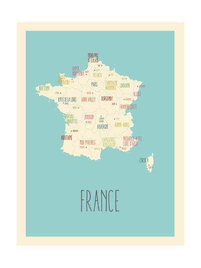 Blue France Map-Kindred Sol Collective-Art Print