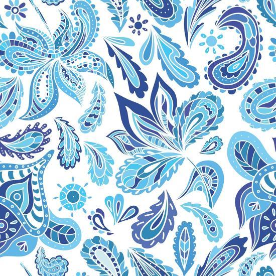 Blue Fresh Indian Vector Pattern-kisika-Art Print