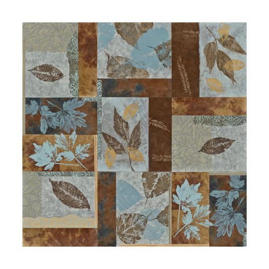 Blue Fusion II - Geometric Leaves in Blue and Brown-Jeni Lee-Premium Giclee Print