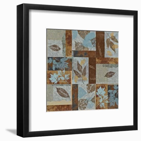 Blue Fusion II - Geometric Leaves in Blue and Brown-Jeni Lee-Framed Premium Giclee Print