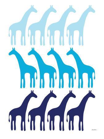 Blue Giraffe Family-Avalisa-Art Print