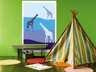 Blue Giraffe Plains-Avalisa-Wall Mural