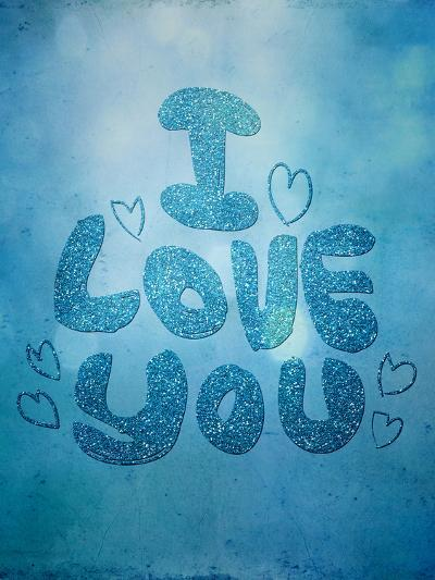 Blue Glitter Love-Grab My Art-Art Print
