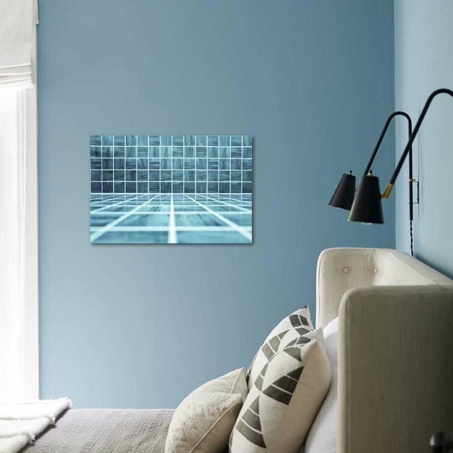 Blue Glossy Ornamental Stone Tiled Wall And Floor In Spacious Bath ...