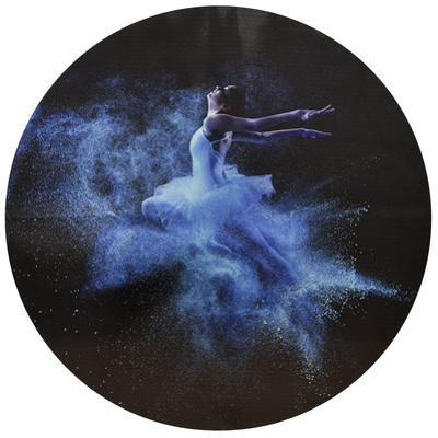 Blue Glow - Circular Silver Canvas Giclee Printed on 2 - Wood Stretcher Wall Art