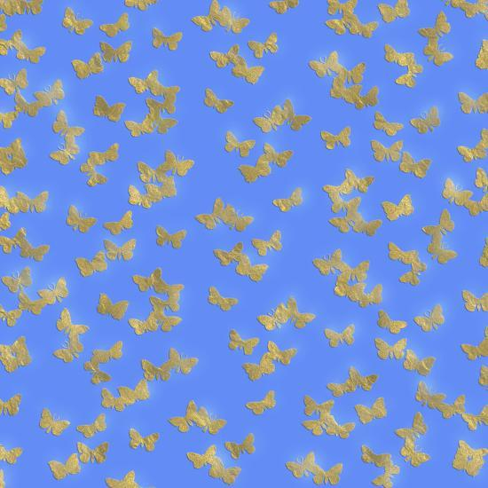 Blue Gold Glitter Pattern Butterflies - Square-Grab My Art-Art Print
