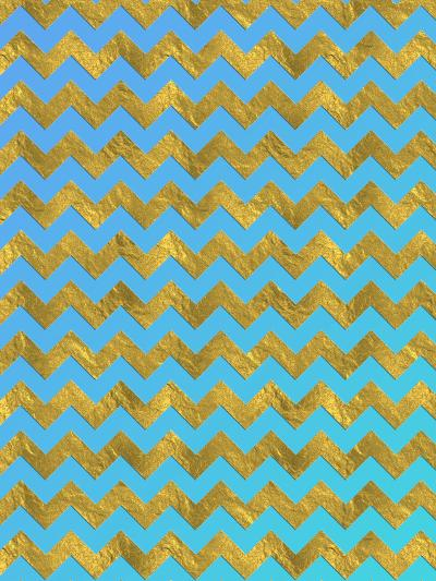 Blue Gold Glitter Pattern Chevron-Grab My Art-Art Print