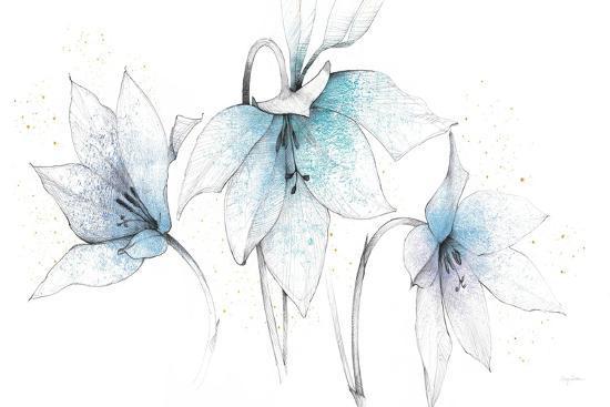 Blue Graphite Floral Trio-Avery Tillmon-Art Print