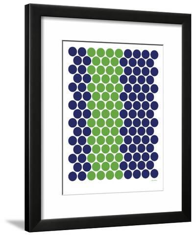 Blue Green Dots-Avalisa-Framed Art Print