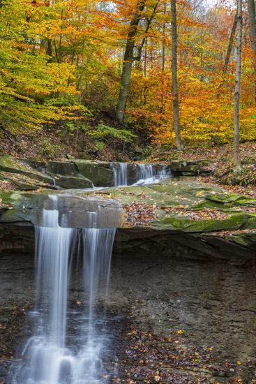 Blue Hens Falls in Autumn in Cuyahoga National Park, Ohio, USA-Chuck Haney-Photographic Print