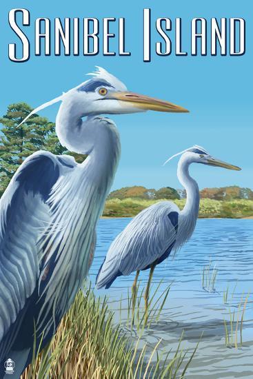 Blue Heron - Sanibel Island, Florida-Lantern Press-Art Print