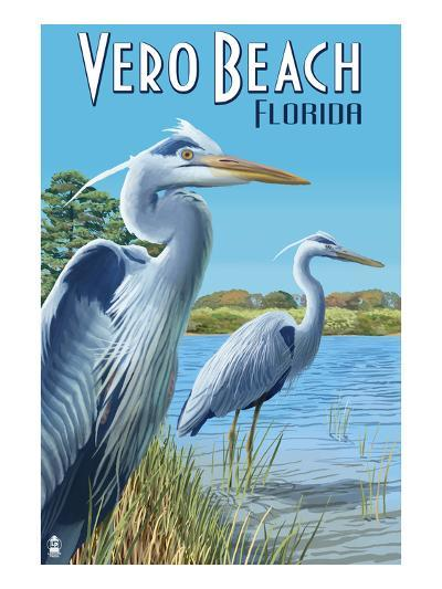 Blue Heron - Vero Beach, Florida-Lantern Press-Art Print
